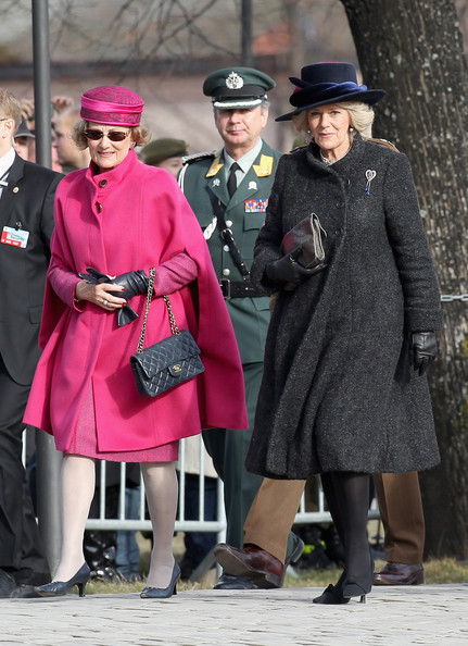 Queen Sonja of Norway and Camilla, Duchess of Cornwall arrive for a wreath laying ceremony at the National Monument at Akershus Fortress on March 20, 2012 in Oslo, Norway.  Prince Charles, Prince of Wales and Camilla, Duchess of Cornwall are on a Diamond Jubilee tour of Scandinavia that takes in Norway, Sweden and Denmark.
