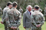Prince Charles, Prince of Wales speaks with soldiers of the Welsh Guards during a visit to Combermere Barracks on May 5, 2021 in Windsor, England.