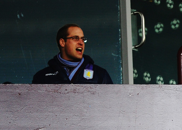 Prince William Prince William, Duke of Cambridge watches the Barclays Premier League match between Aston Villa and Sunderland at Villa Park on November 30, 2013 in Birmingham, England.