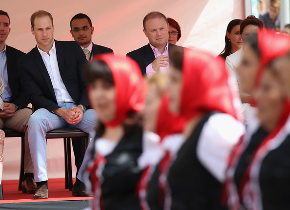 Prince William Prince William, Duke of Cambridge watches traditional dancers from Gozo during a walk-about in Vittoriosa Square on an official visit to Malta on September 21, 2014 in Valletta, Malta. Prince William, Duke of Cambridge is making an official two day visit to Malta as a representative of Queen Elizabeth II. Originally the Duchess of Cambridge was due to make the trip as her first solo overseas engagement as part of Malta's fiftieth Anniversary of Independance but had to cancel due to acute morning sickness with her second child.