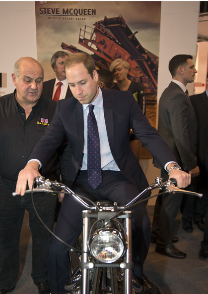 Prince William Prince William, Duke of Cambridge sits on a Metisse motorcycle, similar to the one used by Steve McQueen in the Great Escape, during a visit to Motorcycle Live at the National Exhibition Centre, where he toured the stands and watched a live motorcycle display on November 30, 2013 in Birmingham, United Kingdom.