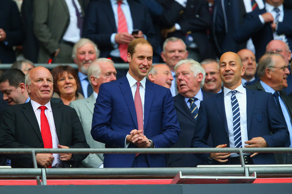 Prince William (L-R)  FA Chairman Greg Dyke, Prince William, Duke of Cambridge and Ivan Gazidis chief executive of Arsenal look on during the international friendly match between England and Peru at Wembley Stadium on May 30, 2014 in London, England.