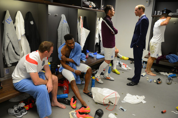 Prince William 30 GMT) In this handout image provided by The FA, President of the Football Association Prince William, Duke of Cambridge speaks to England player Frank Lampard in the team changing room as Wayne Rooney and Daniel Sturridge look on after the International Friendly match between England and Peru at Wembley Stadium on May 30, 2014 in London, England.