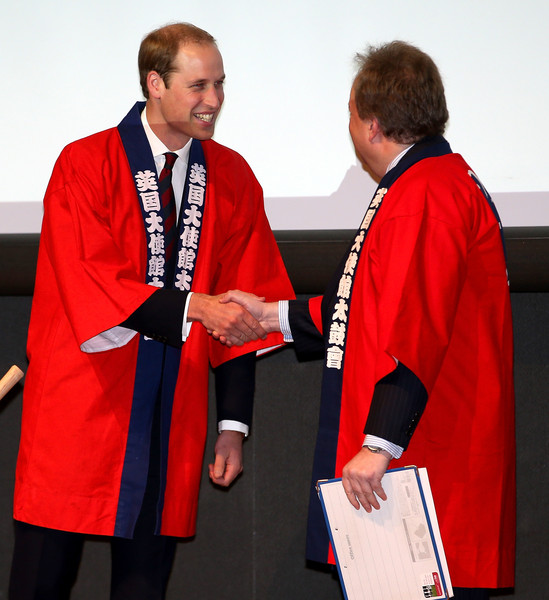 Prince William Prince William, Duke of Cambridge (dressed in a 'Happi' coat) after taking part in a Sake Barrell Breaking Ceremony at an 'Innovation is Great' Event at Roppongi Hills on February 27, 2015 in Tokyo, Japan. The Duke of Cambridge is visiting Japan from February 26th to March 1st 2015.