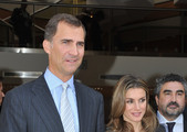Prince Felipe of Spain (L) and Princess Letizia of Spain (R) pose as they leave the 7th International congress for the Victims of terrorism at Ecole Militaire on September 15, 2011 in Paris, France.