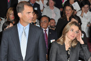 Prince Felipe of Spain (L) and Princess Letizia of Spain (R) attend a minute of silence during the launch of the 7th International congress for the Victims of terrorism at Ecole Militaire on September 15, 2011 in Paris, France.