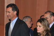 Prince Felipe of Spain (L) and Princess Letizia of Spain (R) arrive to attend the 7th International congress for the Victims of terrorism at Ecole Militaire on September 15, 2011 in Paris, France.