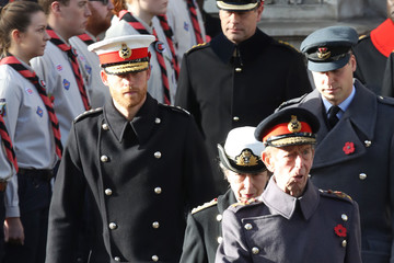 Princess Anne Prince Edward Wreaths Are Laid At The Cenotaph On Remembrance Sunday