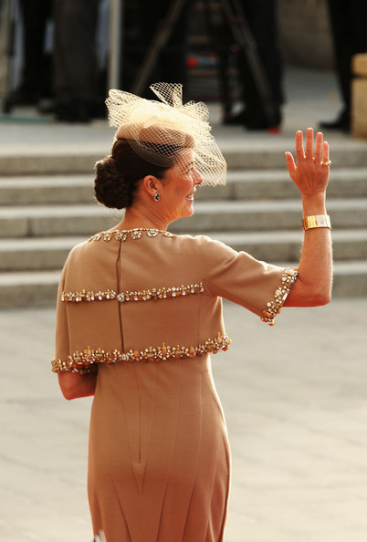 The Wedding Of Prince Guillaume Of Luxembourg & Stephanie de Lannoy - Official Ceremony [guillaume of luxembourg stephanie de lannoy - official ceremony,caroline of hanover,prince,stephanie,belgian countess,guillaume of luxembourg,shoulder,lady,fashion,joint,hairstyle,dress,lip,hand,blond,human body,luxembourg,wedding,wedding ceremony,ceremony]