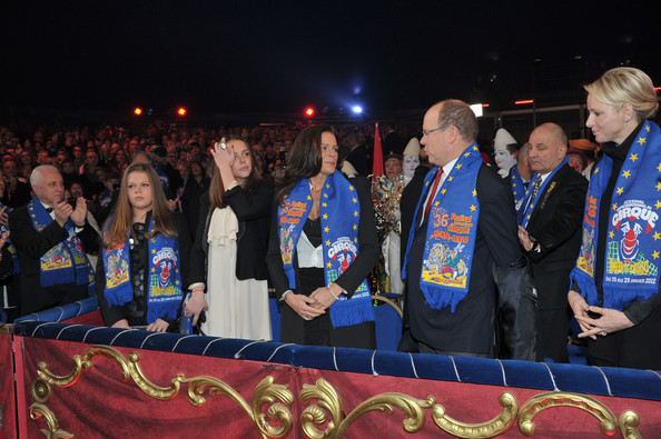 Princess Charlene of Monaco (L-R) Camille Gottlieb, Pauline Ducruet, Princess Stephanie of Monaco, Prince Albert II of Monaco and Princess Charlene of Monaco attend the opening ceremony of the Monte-Carlo 36th International Circus Festival on January 19, 2012 in Monte-Carlo, Monaco.