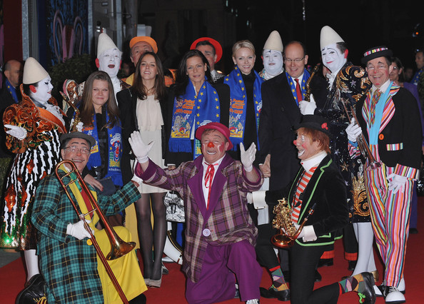 Princess Charlene of Monaco (L-R) Camille Gottlieb, Pauline Ducruet, Princess Stephanie of Monaco, Princess Charlene of Monaco and Prince Albert II of Monaco attend the Monte-Carlo 36th International Circus Festival on January 19, 2012 in Monte-Carlo, Monaco.