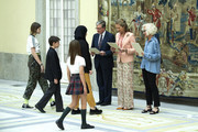 Princess Elena of Spain (2R) attends XXV Children and Youth Painting Contest at El Pardo Palace on June 11, 2019 in Madrid, Spain.