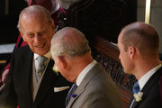 Prince Philip, Duke of Edinburgh, Prince Charles, Prince of Wales and Prince William, Duke of Cambridge attend the wedding of Princess Eugenie of York and Mr. Jack Brooksbank at St. George's Chapel on October 12, 2018 in Windsor, England.
