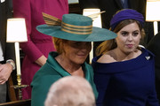 Sarah, Duchess of York and her daughter Princess Beatrice, watch as the Duke of Edinburgh arrives for the wedding of Princess Eugenie to Jack Brooksbank at St George's Chapel in Windsor Castle on October 12, 2018 in Windsor, England.