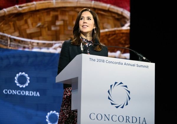 The 2018 Concordia Annual Summit - Day 1 [yellow,convention,brand,speech,spokesperson,award ceremony,princess mary of denmark,crown princess,kingdom of denmark,grand hyatt new york,new york city,her royal highness,concordia annual summit]
