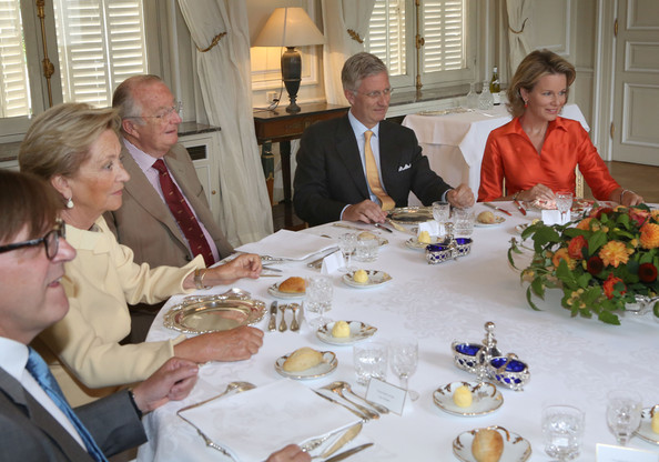 King Albert II Meets with Former Prime Ministers [albert ii of belgium,paola,philippe,mathilde of belgium,prime ministers,king,meal,event,lunch,brunch,supper,dinner,tableware,belgium,laeken,the royal castle,laeken castle]