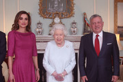 (L-R) Queen Rania of Jordan, Queen Elizabeth II and King Abdullah II of Jordan during a private audience at Buckingham Palace on January 1, 2019 in London, England.
