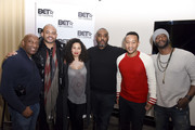 John Singleton, actress Jurnee Smollett-Bell, producer and talent manager Mike Jackson, singer John Legend and actor Aldis Hodge attend the Private Dinner Hosted by BET Networks and Liquid Soul at Waldorf Astoria Park City on January 20, 2017 in Park City, Utah.