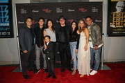 "(L-R) Clifton Hall, Kaeden Hall, Brycen Hall, DeeDee Magno Hall, JC Chasez, Jennifer HuYoung, Autumn Federici, and DK Kater attend a private red carpet screening of ""A Merry Christmas Match"" By The Ninth House at Gary Marshall Theatre on September 25, 2019 in Burbank, California."