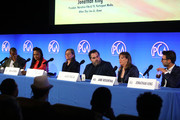 (L-R) Malcolm Venable, Senior Editor TVGuide, Ava DuVernay, Cindy Holland, Berry Welsh, Jane Rosenthal and Jonathan King speak onstage during Producers Guild Of America's 11th Annual Produced By Conference at Warner Bros. Studios on June 09, 2019 in Burbank, California.