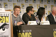 (L-R) Actors Aidan Gillen, Michael Malarkey, Laura Mennell, and Neal McDonough attend the Project Blue Book panel at Comic-Con International on July 21, 2018 in San Diego, California.
