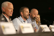 (L-R) Actor Neal McDonough, executive producers David O'Leary, Sean Jablonski, and Jackie Levine attend the Project Blue Book panel at Comic-Con International on July 21, 2018 in San Diego, California.