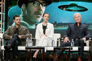 Actors Michael Malarkey, Laura Mennell and Neal McDonough of  'Project Blue Book' speak onstage during The 2018 Summer Television Critics Association Press Tour on July 26, 2018 in Los Angeles, California.