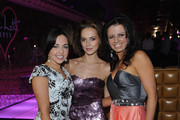 """Louisa Lytton, Kara Tointon and Karen Hardy attend the launch party for the Pixie Lott """"Pixie Loves Lipsy"""" fashion collection at Movida on April 28, 2010 in London, England."""