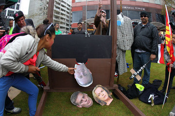 John Key Judith Collins Protest Called By Aotearoa Is Not For Sale