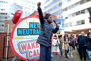 Federal Communication Commission Commissioner Mignon Clyburn addresses protesters outside the Federal Communication Commission building to rally against the end of net neutrality rules December 14, 2017 in Washington, DC. Lead by FCC Chairman Ajit Pai, the commission is expected to do away with Obama Administration rules that prevented internet service providers from creating differnt levels of service and blocking or promoting individual companies and organizations on their systems.