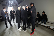 Fashion stylist Kate Lanphear (3rd R), designers Dao-Yi Chow (2nd R) and Maxwell Osborne (R) attend rehearsal for Public School runway show during MADE Fashion Week Fall 2015  at Studio 330 on February 15, 2015 in New York City.