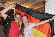 Michel Guillaume and girlfriend  Georgia Schultze attend the public viewing party for the first match of the German team during the world cup 2010 at the Cavos on June 13, 2010 in Munich, Germany.