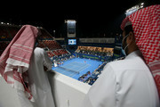 A general view as Roger Federer of Switzerland plays his match against Dan Evans of Great Britain on Day 3 of the Qatar ExxonMobil Open at Khalifa International Tennis and Squash Complex on March 10, 2021 in Doha, Qatar.