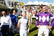 Retiring jockey Richard Hughes, Franny Norton (C) and Frankie Dettori (L) on day five of the Qatar Goodwood Festival at Goodwood Racecourse on August 1, 2015 in Chichester, England.