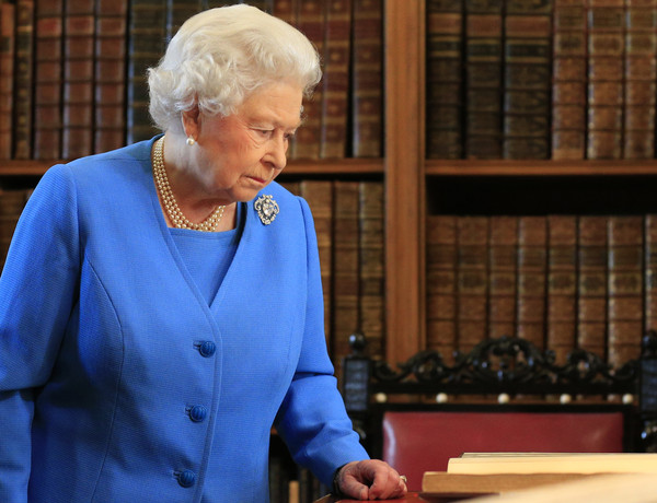 Queen Elizabeth II attends the launch of the George III Project at an event held in the Royal Library in Windsor Castle on April 1, 2015 in Windsor, England.