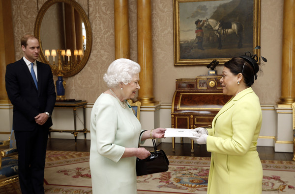 Queen Elizabeth II, accompanied by Prince William, Duke of Cambridge receives the Ambassador of the Republic of Nicaragua Her Excellency Ms Guisell Morales-Echaverry as she presents her credentials during a private audience at Buckingham Palace on March 18, 2015 in London, England. It is the first time William has accompanied his grandmother at the regular royal duty and serves as part of his training as the future king.