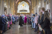 Queen Elizabeth II greets parishioners as she leaves Blackburn Cathedral after attending the Royal Maundy Service on April 17, 2014 in Blackburn, England.