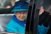 Queen Elizabeth II waves to the crowd as she leaves after an official visit to Cotts Farm Equine Hospital, Narbeth on April 29, 2014 in Narbeth, Wales. The Cotts Equine Hospital is a purpose-built facility offering veterinary equine care.