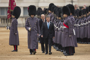 Colombian President Juan Manuel Santos (Front, C) and Prince Philip, Duke of Edinburgh (Back, C) inspect the guard of honour during the Official Ceremonial Welcome for the Colombian State Visit at Horse Guards Parade on November 1, 2016 in London, England. The President of the Republic of Colombia Juan Manuel Santos and his wife Maria Clemencia Rodriguez de Santos are paying their first State Visit to the UK as official guests of Queen Elizabeth.