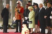 Queen Elizabeth II and Prince Philip, Duke of Edinburgh join British Prime Minister Theresa May, Foreign Secretary Boris Johnson and Home Secretary Amber Rudd for a ceremonial welcome for Colombia's President Juan Manuel Santos and his wife Maria Clemencia de Santos at Horse Guards Parade on November 1, 2016 in London, England. The President is on a state visit to Britain.
