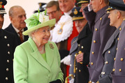 Queen Elizabeth II takes part in a ceremonial welcome for Colombia's President Juan Manuel Santos and his wife Maria Clemencia de Santos at Horse Guards Parade on November 1, 2016 in London, England. The President is on a state visit to Britain.