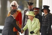 Queen Elizabeth II greets Colombia's President Juan Manuel Santos at a ceremonial welcome for Colombia's President Juan Manuel Santos and his wife Maria Clemencia de Santos at Horse Guards Parade on November 1, 2016 in London, England. The President is on a state visit to Britain.