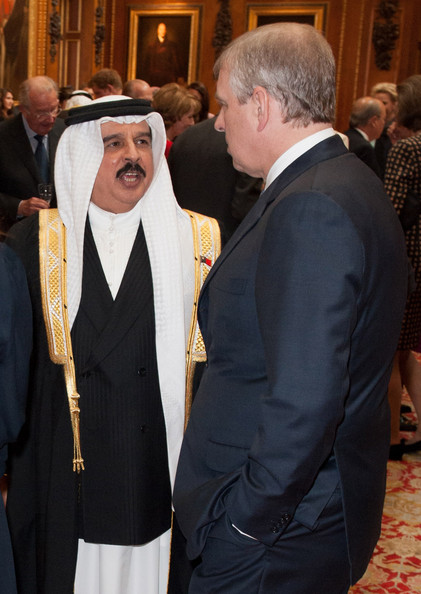 Prince Andrew, Duke of York, talks to Bahrain's King Hamed bin Isa Al Khalifa at a lunch For Sovereign Monarchs in honour of Queen Elizabeth II's Diamond Jubilee, at Windsor Castle, on May 18, 2012 in Windsor, England.