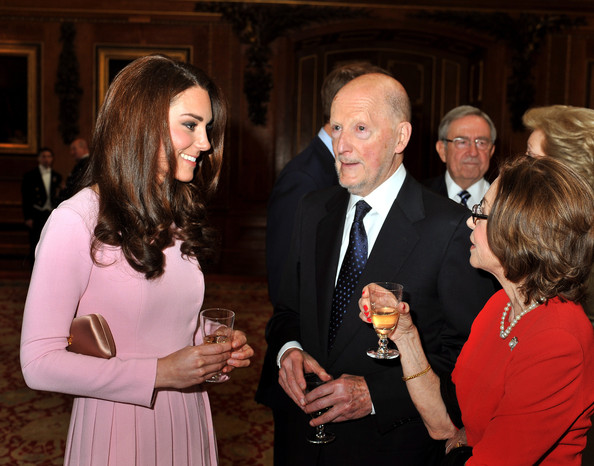 Catherine, Duchess of Cambridge talks to King Simeon of Bulgaria and his wife Queen Margarita during a reception in the Waterloo Chamber, before the Lunch For Sovereign Monarchs at Windsor Castle, on May 18, 2012 in Windsor, England.