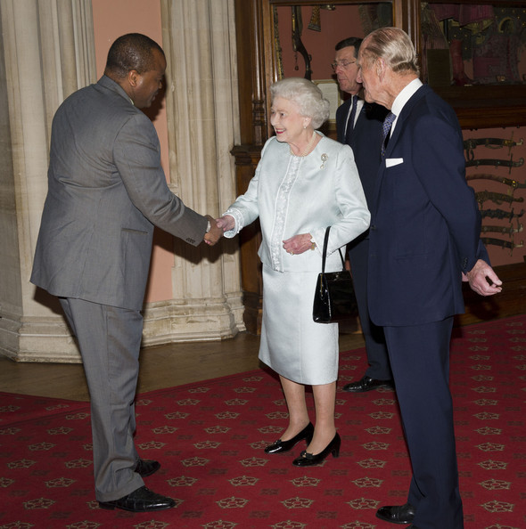 Queen Elizabeth II and Prince Philip, Duke of Edinburgh greet  King Mswati III of Swaziland as he arrives at a lunch for Sovereign Monarch's held in honour of Queen Elizabeth II's Diamond Jubilee, at Windsor Castle, on May 18, 2012 in Windsor, England.