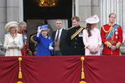 Camilla, Duchess of Cornwall, Prince Charles, Prince of Walesl, Princess Anne, Princess Royal, Queen Elizabeth II, Prince Andrew, Duke of York, Prince Harry, Catherine, Duchess of Cambridge and Prince William, Duke of Cambridge stand on the balcony at Buckingham Palace during the annual Trooping the Colour Ceremony on June 15, 2013 in London, England. Today's ceremony which marks the Queens official birthday will not be attended by Prince Philip the Duke of Edinburgh as he recuperates from abdominal surgery and will also be The Duchess of Cambridge's last public engagement before her baby is due to be born next month.
