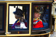 Prince Edward, Duke of Kent accompanies Queen Elizabeth II by carriage as they leave the Trooping the Colour ceremony at the Horse Guards Parade accompanied by the Duke of Kent on June 15, 2013 in London, England. Today's ceremony which marks the Queens official birthday will not be attended by Prince Philip the Duke of Edinburgh as he recuperates from abdominal surgery and will also be The Duchess of Cambridge's last public engagement before her baby is due to be born next month.
