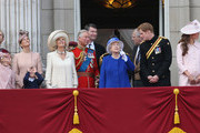 Prince Edward, Earl of Wessex, Lady Louise Windsor, James Viscount Severn, Sophie, Countess of Wessex,  Camilla, Duchess of Cornwall, Prince Charles, Prince of Wales, Sir Timothy Laurence, Princess Anne, Princess Royal, Queen Elizabeth II, Prince Andrew, Duke of York, Prince Harry, Catherine, Duchess of Cambridge and Prince William, Duke of Cambridge stand on the balcony at Buckingham Palace during the annual Trooping the Colour Ceremony on June 15, 2013 in London, England. Today's ceremony which marks the Queens official birthday will not be attended by Prince Philip the Duke of Edinburgh as he recuperates from abdominal surgery and will also be The Duchess of Cambridge's last public engagement before her baby is due to be born next month.
