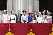 Catherine, Duchess of Cambridge, Princess Eugenie, Prince Andrew Duke of York, Princess Beatrice, Katherine, Duchess of Kent and Lady Helen Windsor during the annual Trooping the Colour Ceremony on June 15, 2013 in London, England. Today's ceremony which marks the Queens official birthday will not be attended by Prince Philip the Duke of Edinburgh as he recuperates from abdominal surgery and will also be The Duchess of Cambridge's last public engagement before her baby is due to be born next month.