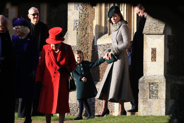 Queen Elizabeth II Camilla Parker Bowles The Royal Family Attend Church On Christmas Day